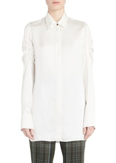 Carven Ruched Sleeve Poplin Blouse