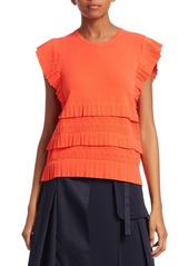 Carven Ruffle Knit Top