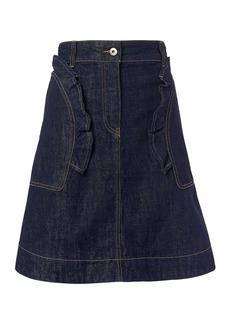 Carven Ruffled Denim Mini Skirt