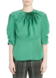 Carven Satin Ruched Blouse