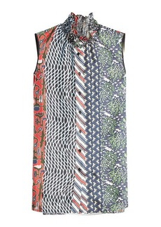 Carven Shantung Printed Silk Blouse