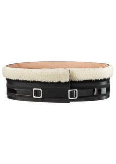 Carven Shearling and Leather Belt