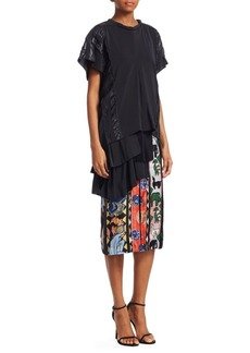 Carven Silk Abstract Print Asymmetric Dress