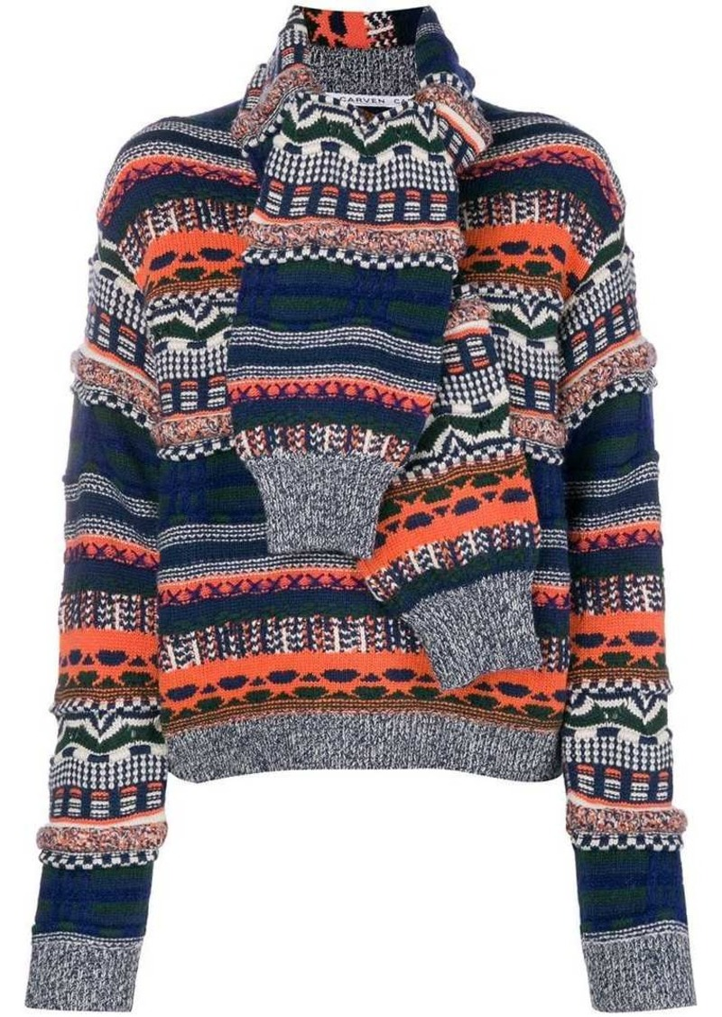 """Carven """"sleeves scarf"""" knit sweater"""