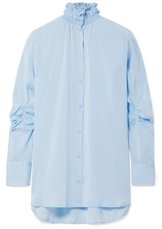 Carven Smocked Stretch-silk Crepe De Chine Shirt