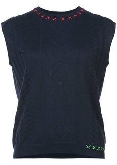 Carven stitch detail cropped sweater vest