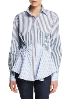 Carven Striped Gathered Button-Front Cotton Shirt
