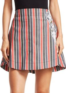 Carven Striped Patch Mini Skirt