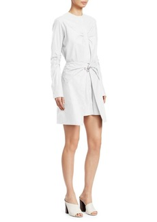 Carven Tie Waist Ruched Poplin Dress