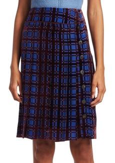 Carven Velvet Pleated Plaid Midi Skirt