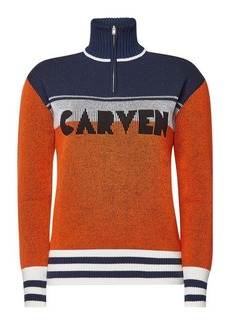 Carven Virgin Wool Pullover with Zipped Front
