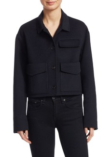 Carven Wool-Blend Cropped Marine Coat