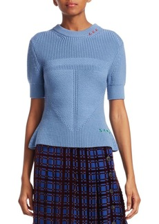 Carven Wool Cable Knit Peplum Sweater
