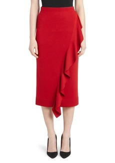 Carven Wool Side Ruffle Pencil Skirt