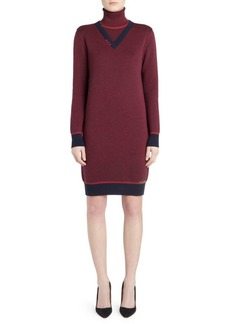 Carven Wool Turtleneck Logo Dress