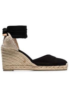 Castañer black Carina 80 ankle tie wedge sandals