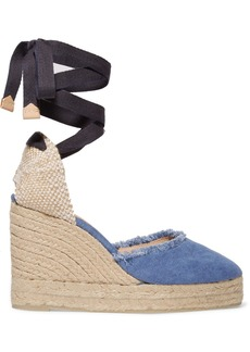 Castañer Canela frayed denim wedge espadrilles