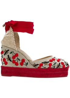 Castañer Carina cherry and bee embroidered espadrilles