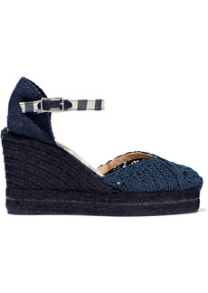 Castañer Woman Campanilla Canvas-trimmed Woven Suede Wedge Espadrilles Navy