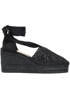Castañer Woman Campesina 50 Crocheted Cotton Wedge Espadrilles Black
