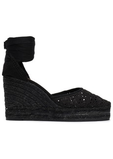 Castañer Woman Carina 80 Crocheted Cotton Wedge Espadrilles Black