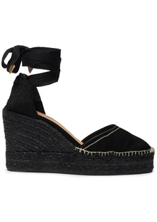 Castañer Woman Carina Canvas And Suede Wedge Espadrilles Black