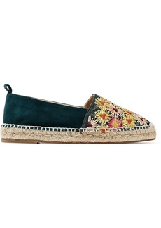 Castañer Woman Kenda Suede And Embroidered Canvas Espadrilles Emerald