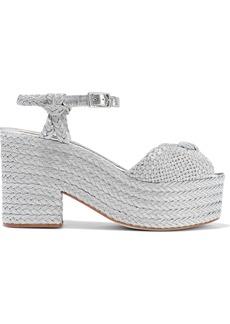 Castañer Woman Xilema Knotted Metallic Braided And Woven Platform Sandals Silver