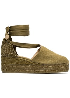 Castañer Green Campesina 30 canvas espadrille wedges