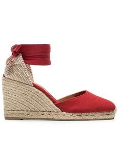 Castañer red Carina 80 cotton canvas wedge sandals