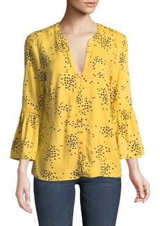 Catherine Malandrino 3/4-Bell-Sleeve Button-Front Blouse