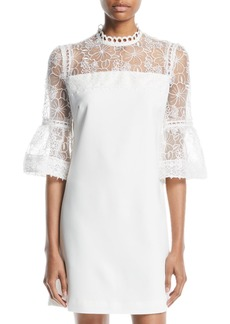 Catherine Malandrino 3/4-Bell-Sleeve Lace-Yoke Dress