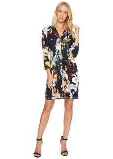 Catherine Malandrino 3/4 Sleeve Inverted Pleat Dress