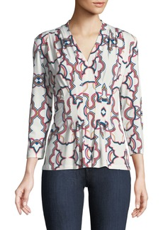 Catherine Malandrino 3/4 Sleeve Pintuck Medallion Blouse