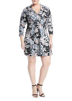Catherine Malandrino 3/4-Sleeve Pintucked Floral Dress
