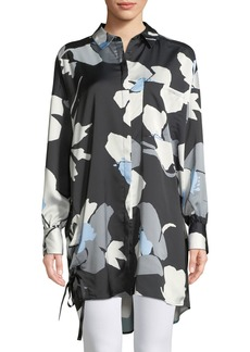 Abstract Tie-Side Button-Front Tunic