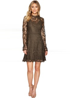 All Over Lace High Neck Fitted A-Line Dress