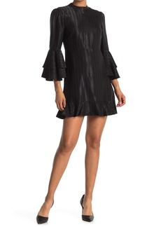 Catherine Malandrino Bell Sleeve Ruffled Shift Dress