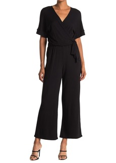 Catherine Malandrino Belted Wide Leg Wrap Jumpsuit