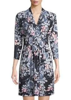 Catherine Catherine Malandrino 3/4Sleeve Pintucked Floral Dress