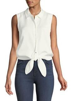 Catherine Catherine Malandrino Colby Sleeveless Button-Front Tie-Hem Blouse