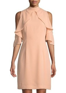 Catherine Catherine Malandrino Cold-Shoulder Ruffled Sleeve Sheath Dress