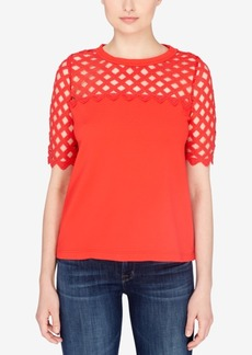 Catherine Catherine Malandrino Cotton Lattice-Trim T-Shirt