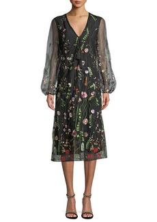 Catherine Catherine Malandrino Crochet-Trim Puff-Sleeve Dress