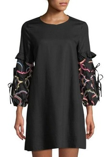 Catherine Catherine Malandrino Embroidered-Sleeve A-line Dress