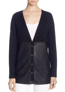 CATHERINE Catherine Malandrino Faux-Leather-Panel Cardigan