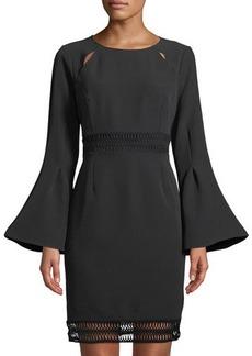 Catherine Catherine Malandrino Flare-Sleeve Open-Stitch Sheath Dress