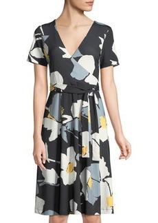 Catherine Catherine Malandrino Floral A-line Faux-Wrap Dress