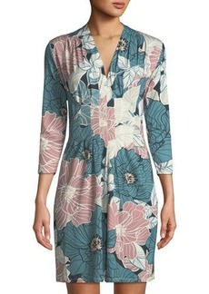 Catherine Catherine Malandrino Floral-Print Pleated-Front Jersey Dress