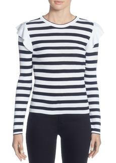CATHERINE Catherine Malandrino Karina Ruffle Shoulder Stripe Sweater